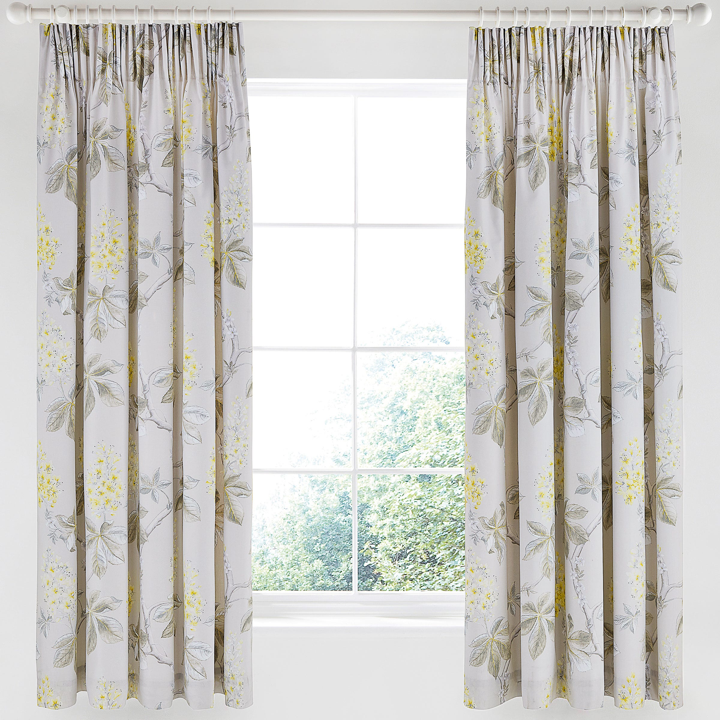 Sanderson Bedding Chestnut Tree Lined Curtains Silver