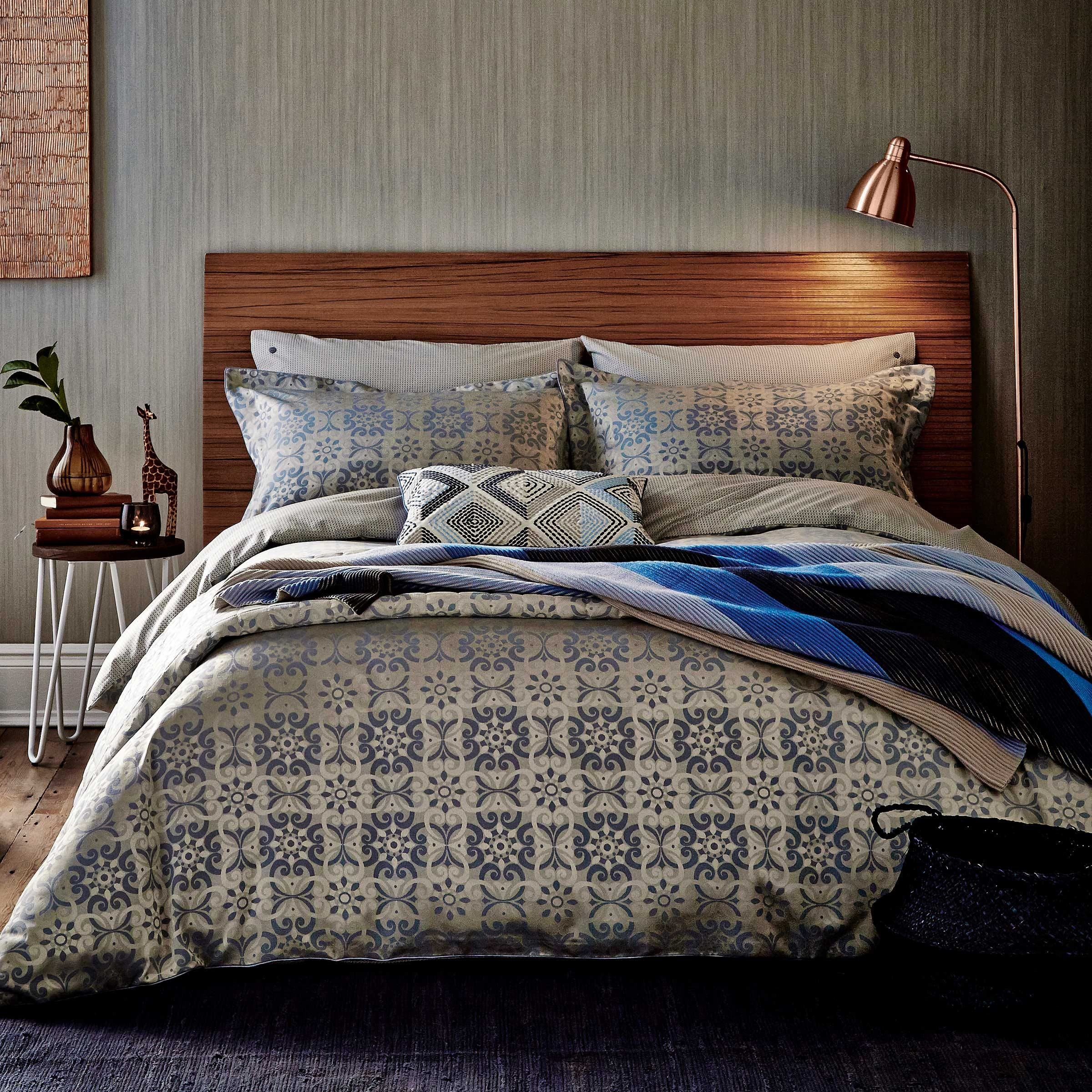 Bedeck 1951 Alie Double Duvet Cover, Sky Blue