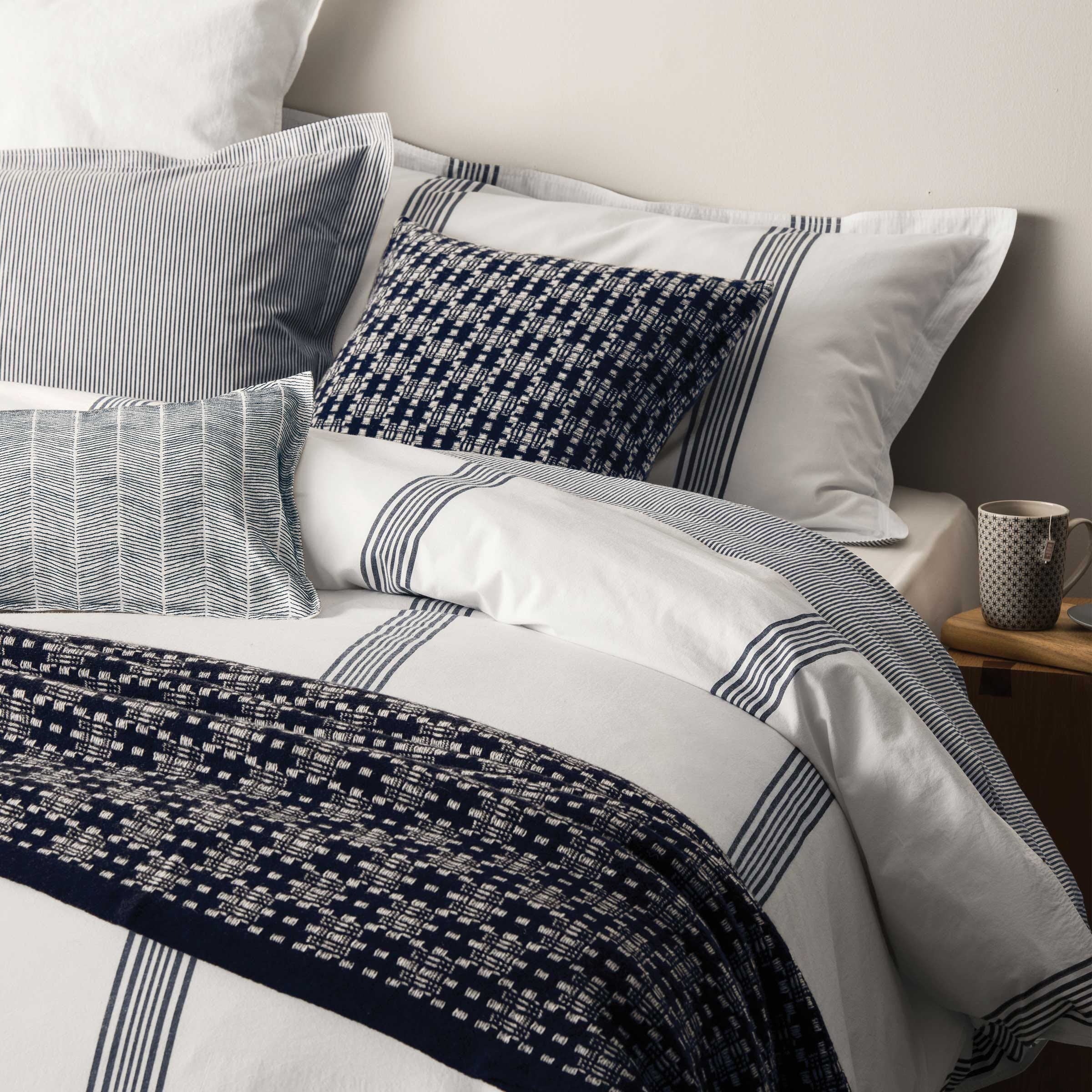Murmur Broad Stripe Single Duvet Cover White & Indigo