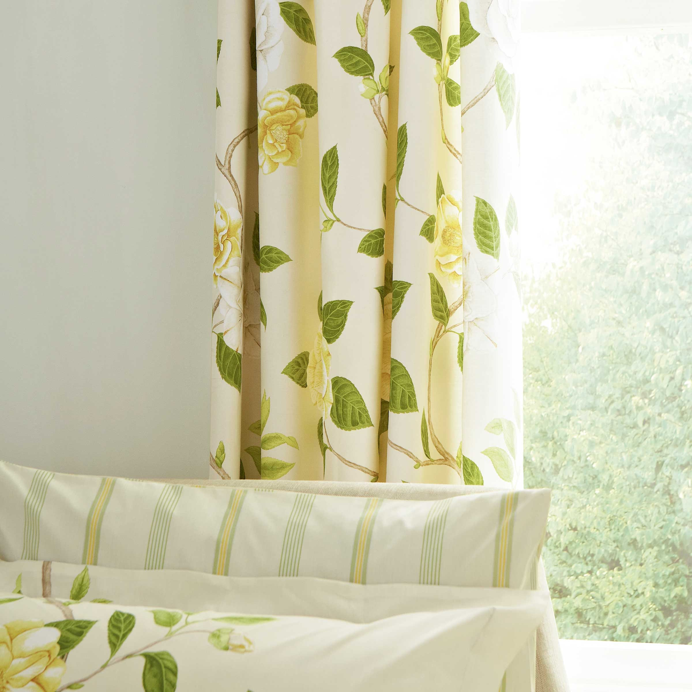Sanderson Bedding Christabel Lined Curtains 66 x 72  Yellow