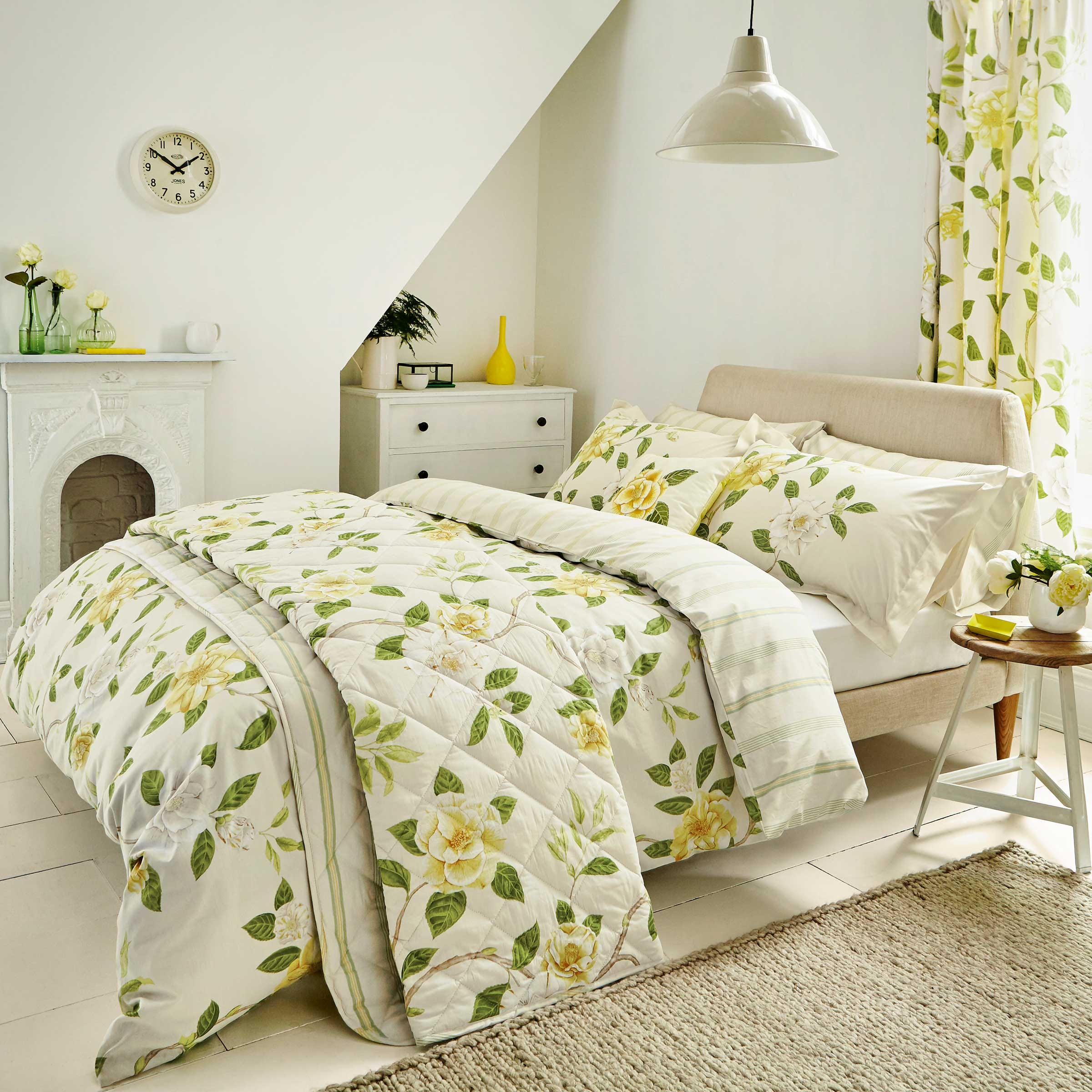 Sanderson Bedding Christabel Double Duvet Cover Set Yellow