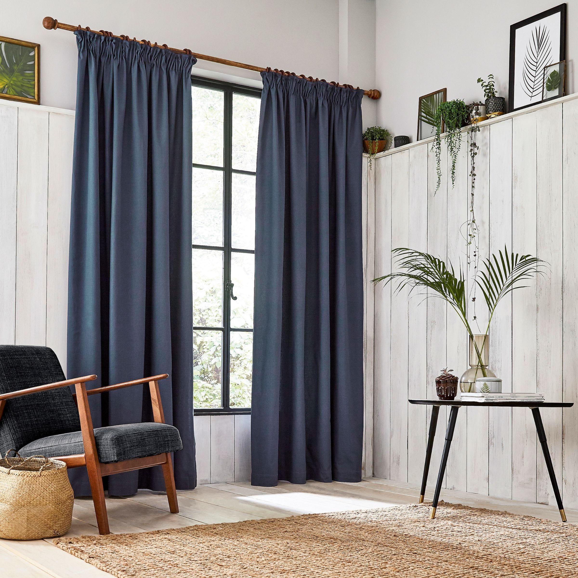 Clarissa Hulse Chroma Lined Curtains Dark Blue Bedeck Home