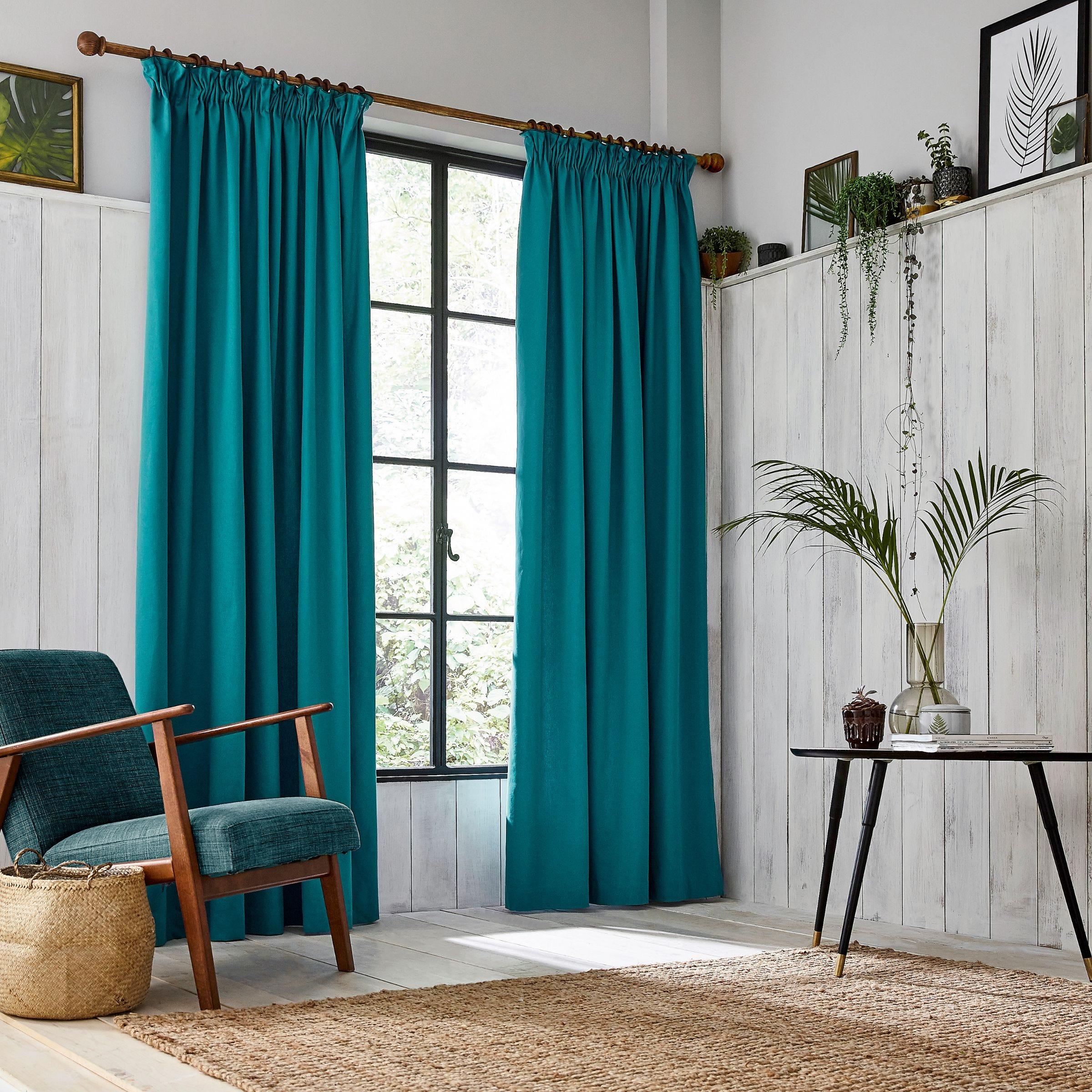 "Clarissa Hulse Chroma Lined Curtains 66"" x 90"", Teal"