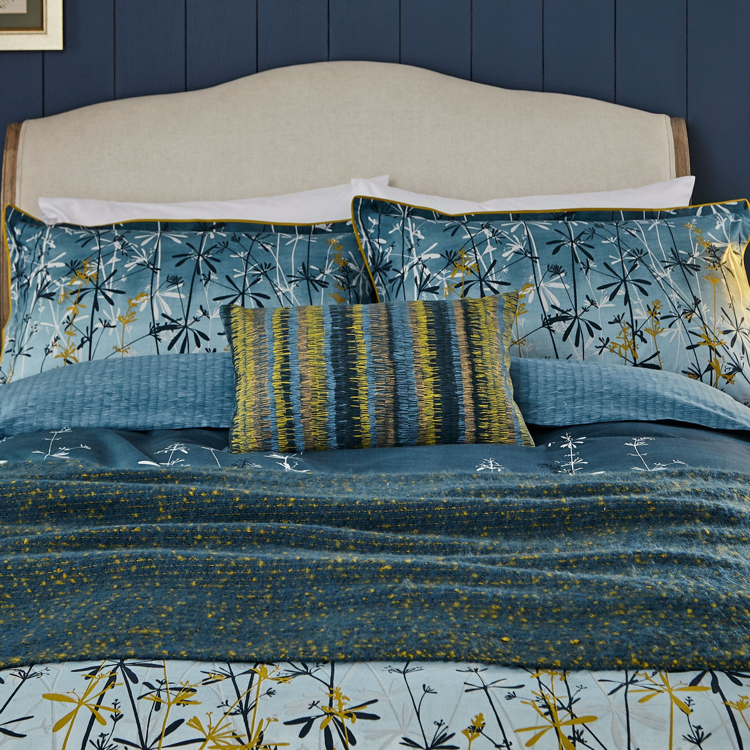 Clarissa Hulse Clarissa Hulse Goosegrass Blue 100% Cotton Duvet Cover and Pillowcase Set Blue, Yellow and White 140x200cm and 48x76cm