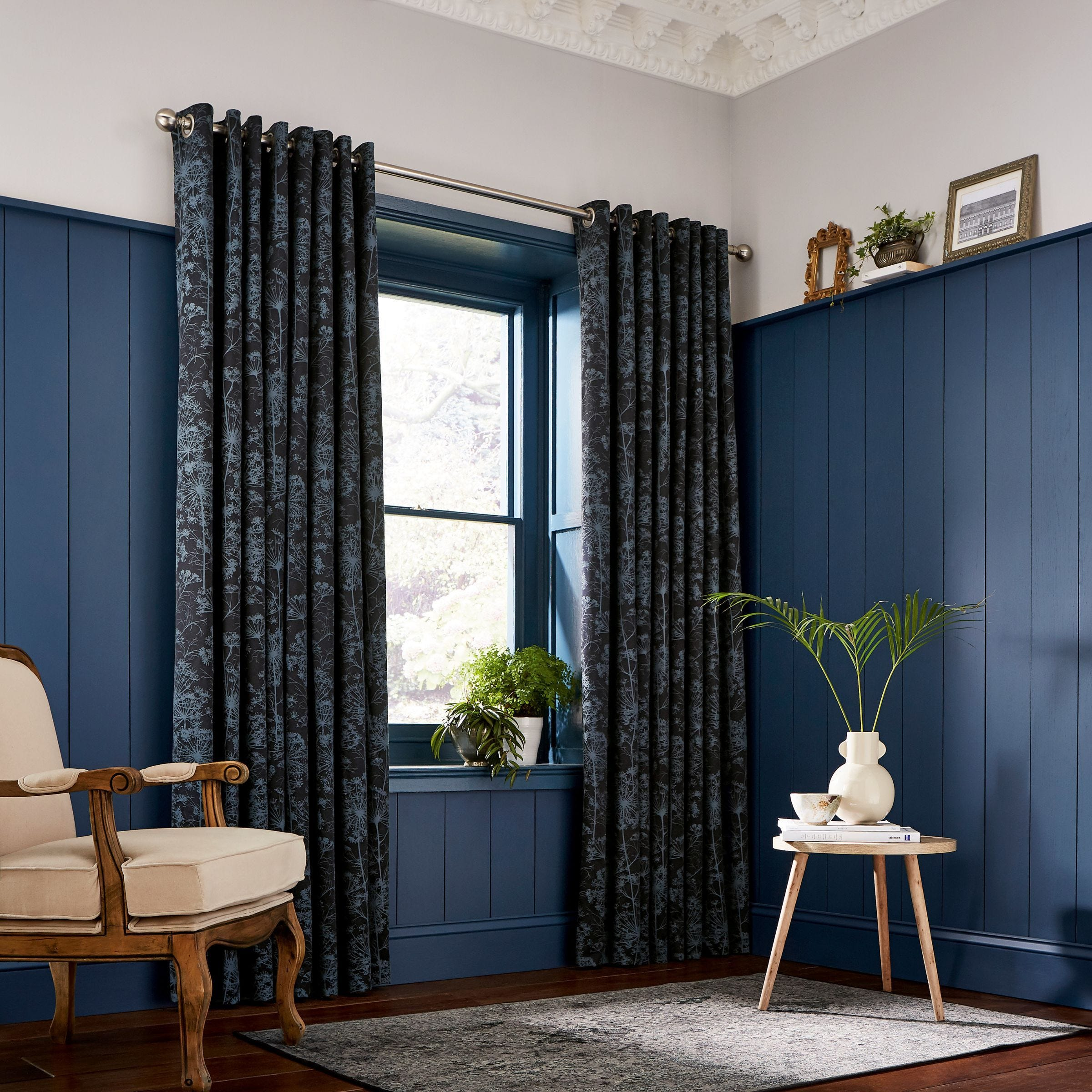 Clarissa Hulse Dill Lined Curtains Dark Blue Bedeck Home