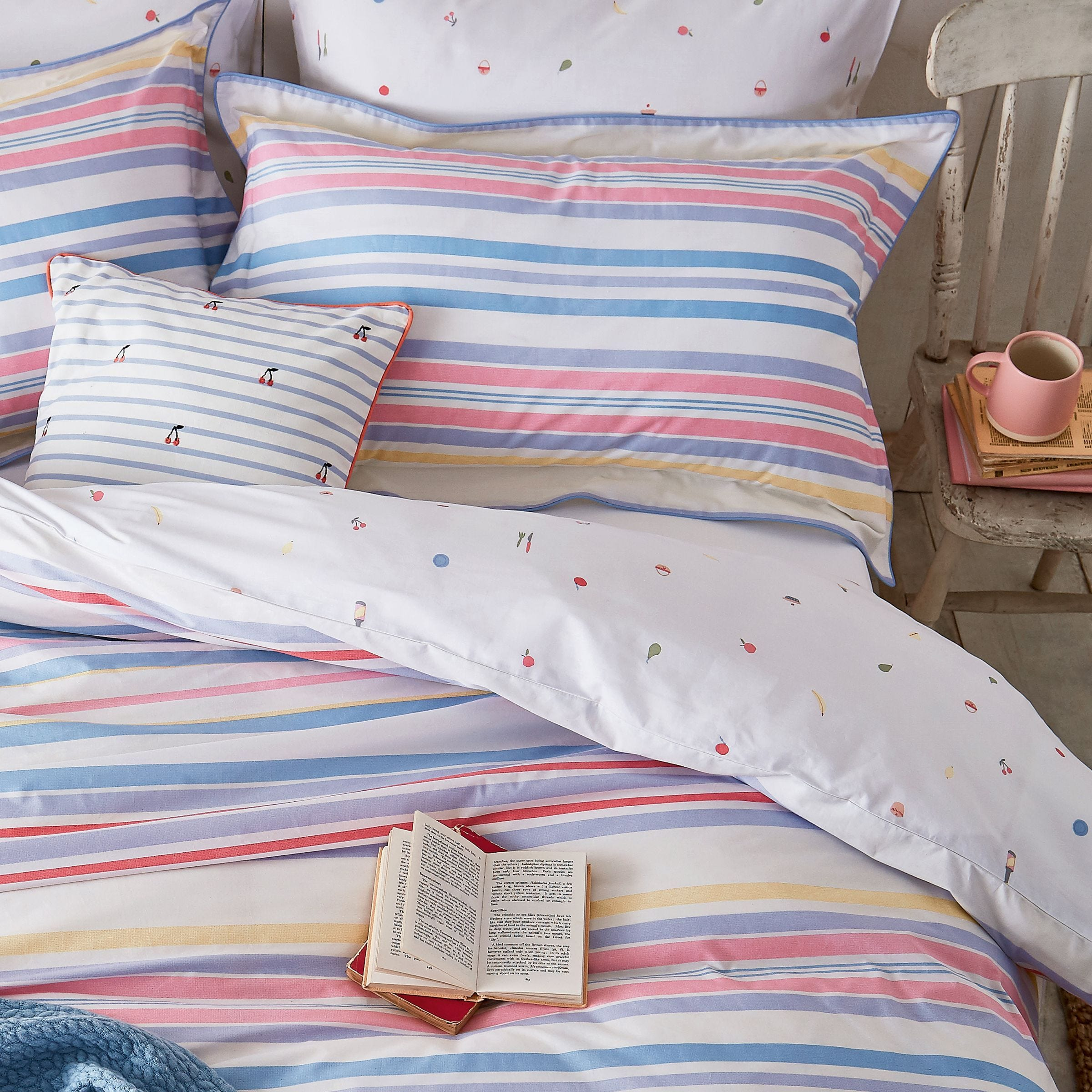 Joules Summer Fruit Stripe Duvet Covers Multi Bedeck Home
