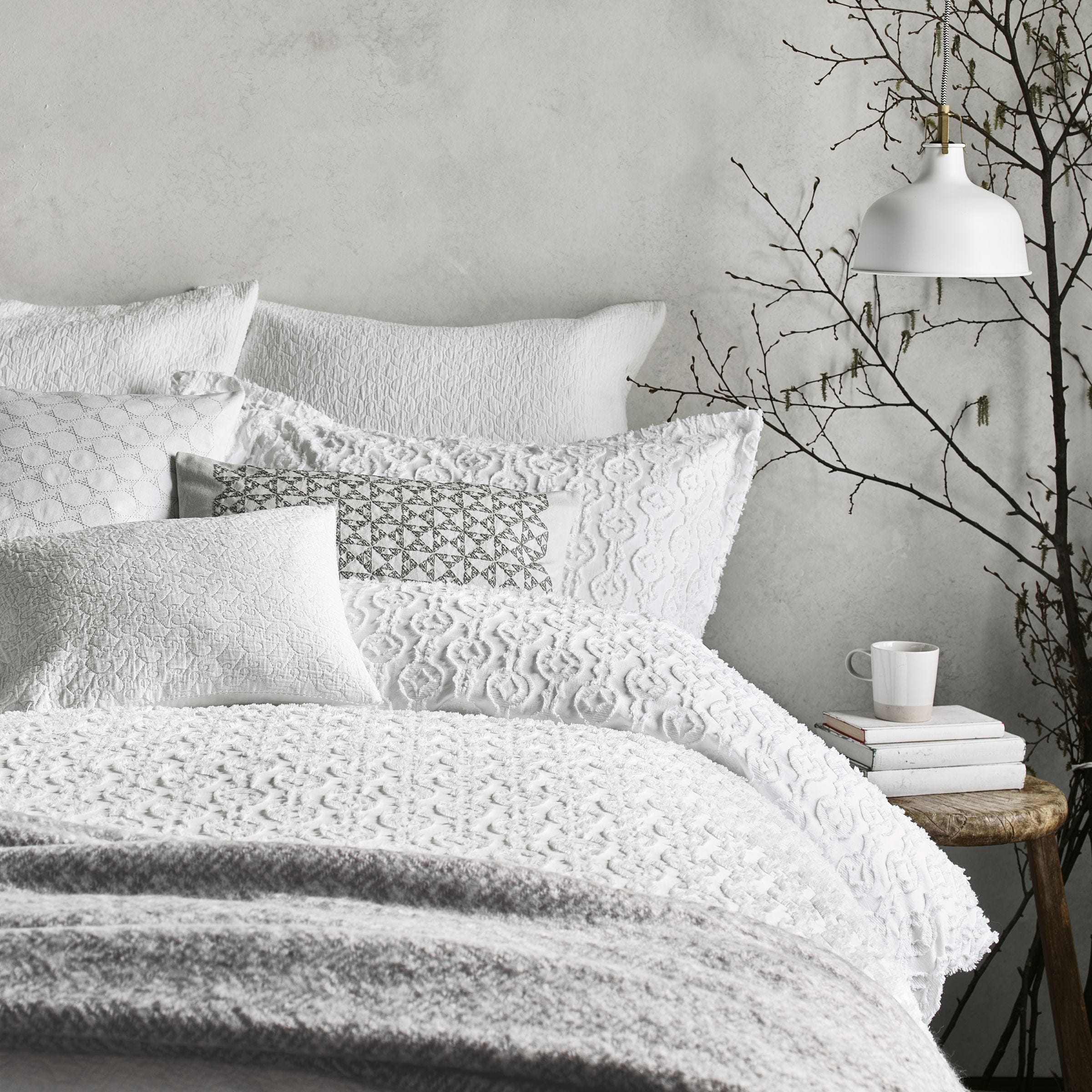 White Textured Bedding Murmur Nara Bedeck Home
