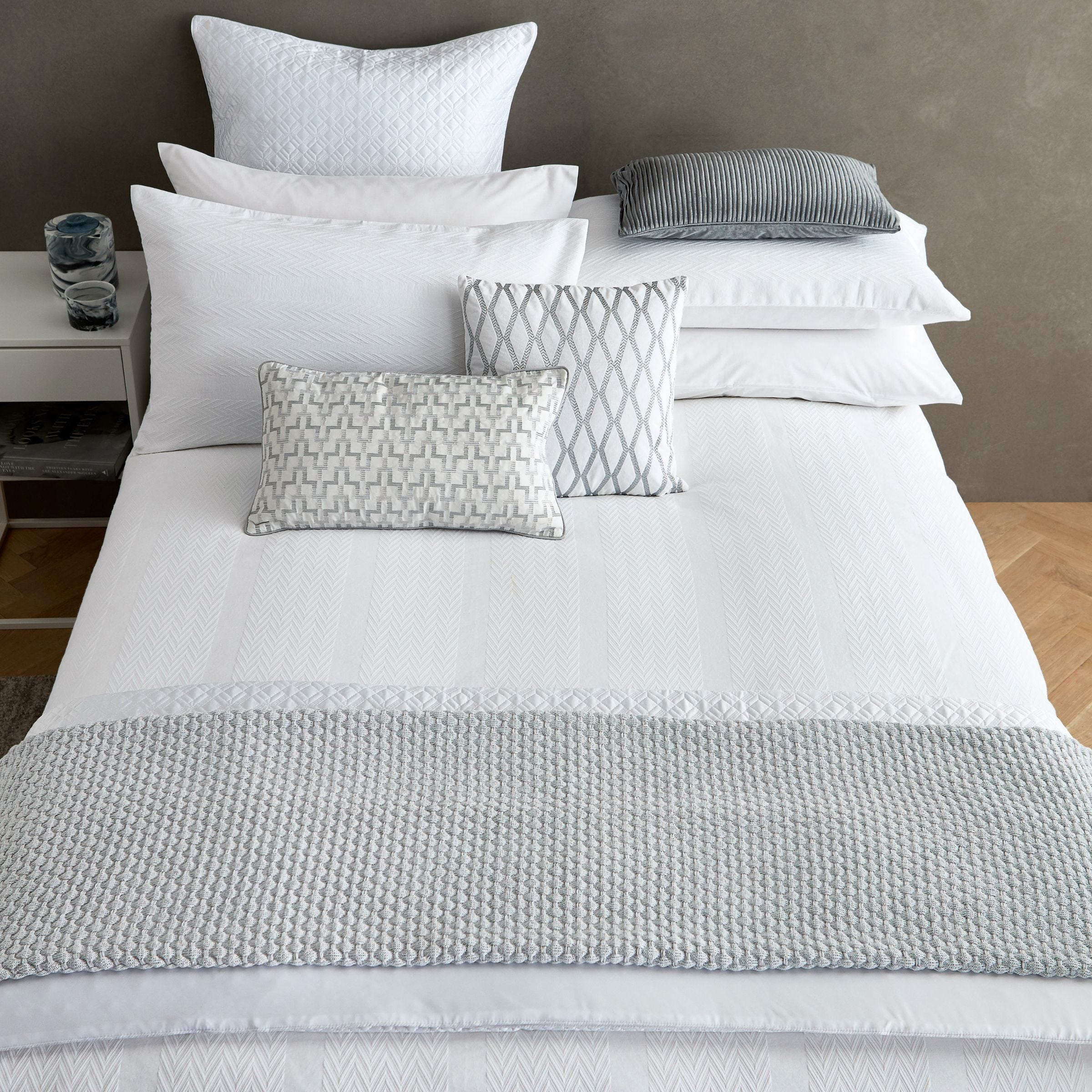 Blanca White Textured Bedding Bedeck Home