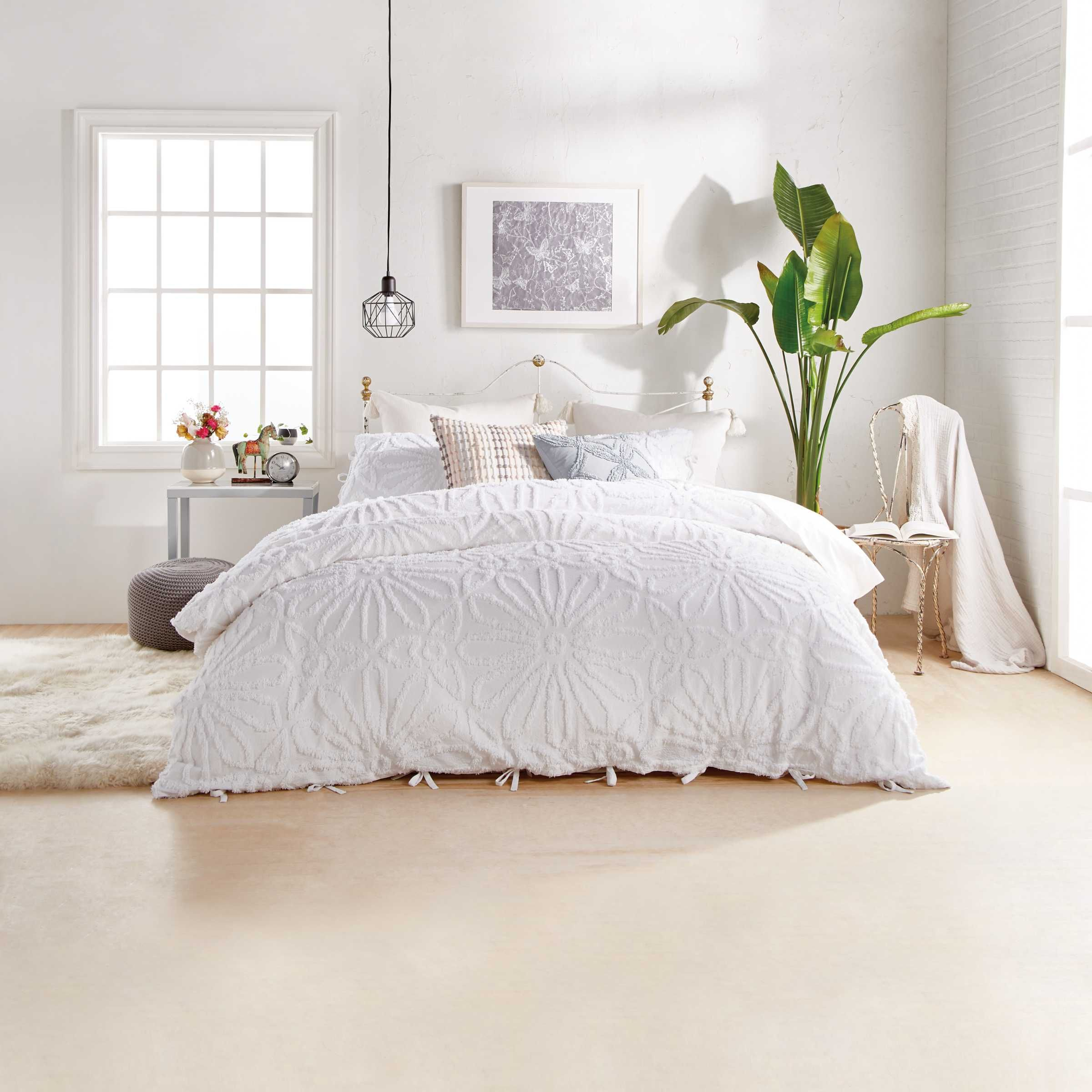 White Textured Bedding Chenille Medallion Bed Linen Bedeck Home