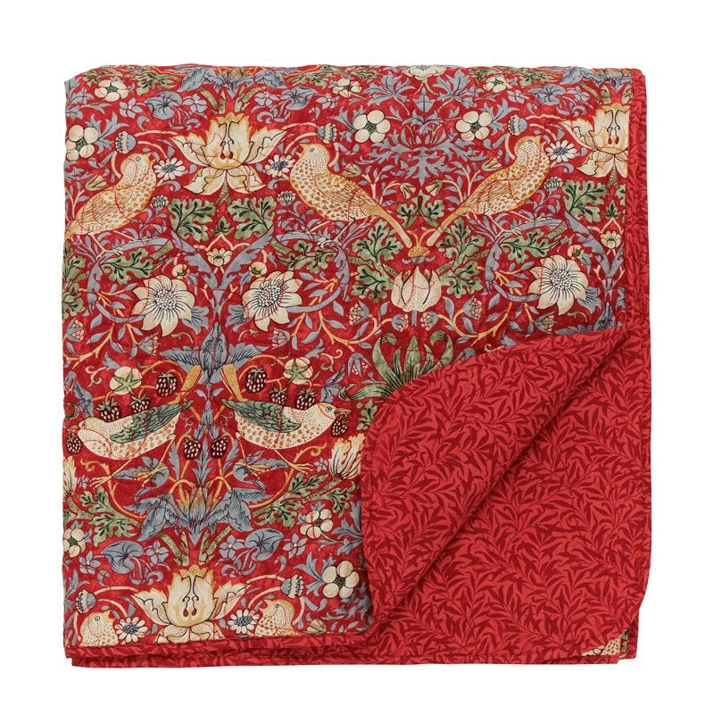 William Morris Strawberry Thief Crimson Bedding Bedeck Home