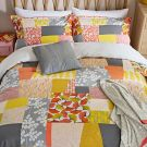 Ginkgo Patchwork Duvet Cover Set, Pink/Mustard