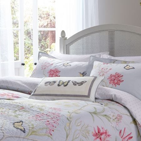 Clementine Bedding Silver & Fire Pink