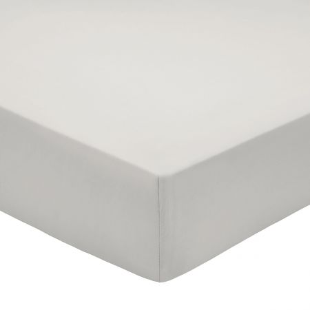 Bedeck of Belfast 200 Thread Count Plain Dye Silver Fitted Sheet