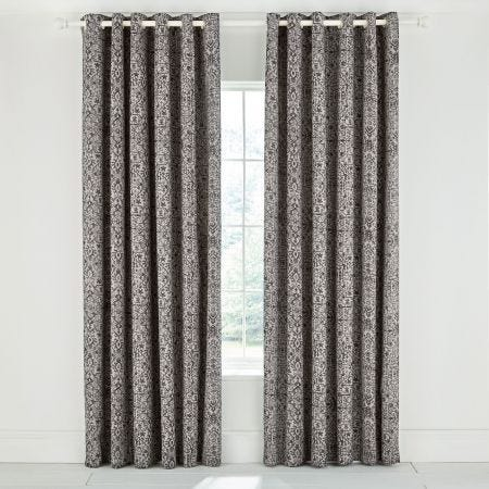 Dhaka Charcoal Lined Eyelet Curtains.