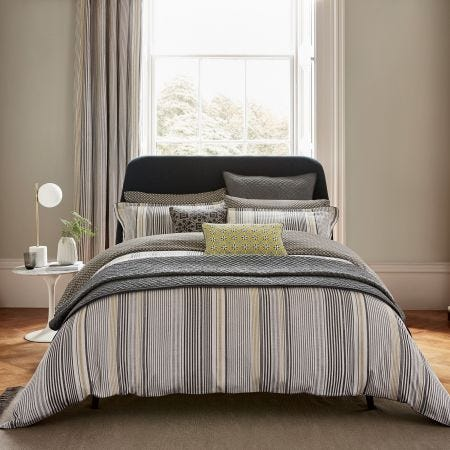 Suri Grey & Yellow Striped Bedding