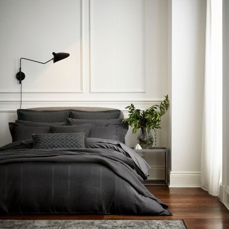 Mansa Charcoal Grey Satin Stripe Bedding