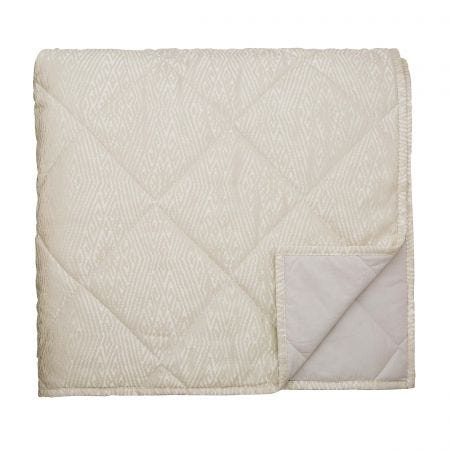 Adena Double Quilted Throw, Linen