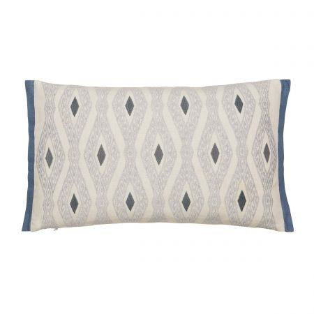 Adena Embroided Soft Blue Cushion Front