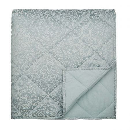Dita Double Quilted Throw Duck Egg