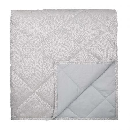 Etana Double Quilted Throw Silver