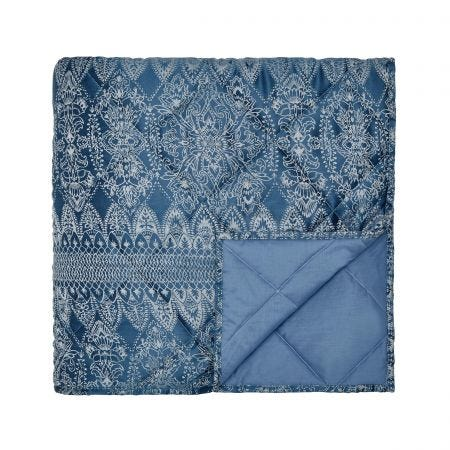 Indira Navy Blue Quilted Throw