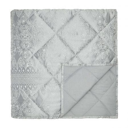 Indira Silver Quilted Throw