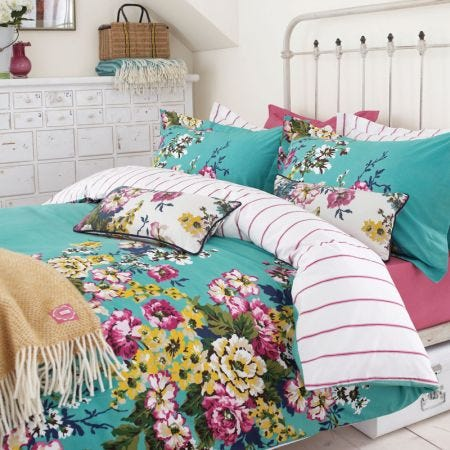 Jade Green Floral Duvet Covers, Double