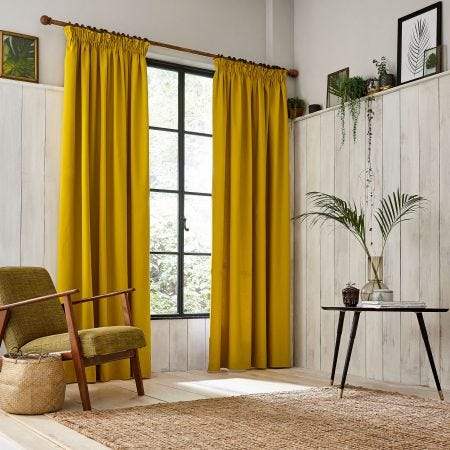 Chroma Mustard lined Tape Top Curtains.