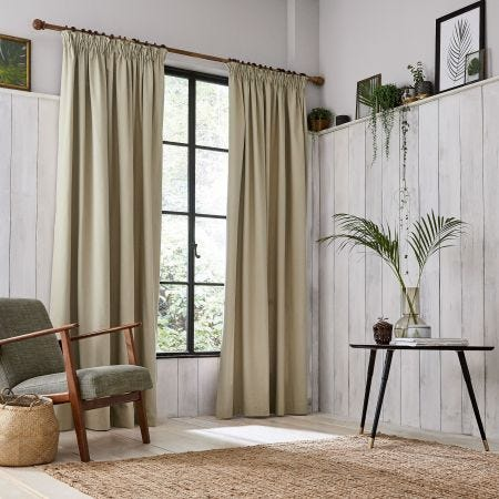 Chroma Natural Lined Curtains.