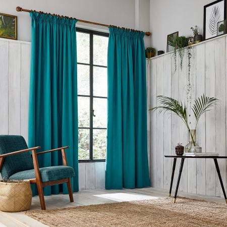 Chroma Teal Lined Tape Top Curtains.