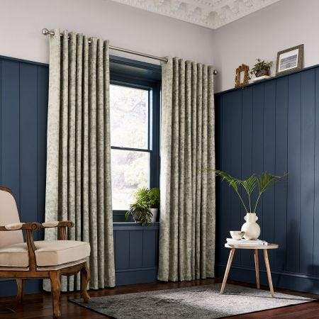 Dill Jacquard Natural Lined Curtains.