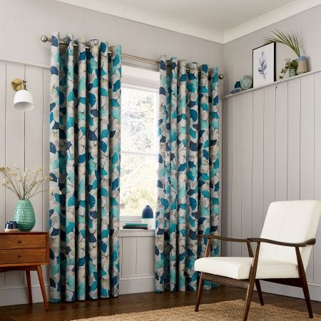 Gingko Aqua Lined Curtains.