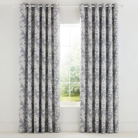 Ginkgo Patchwork Lined Eyelet Curtains.