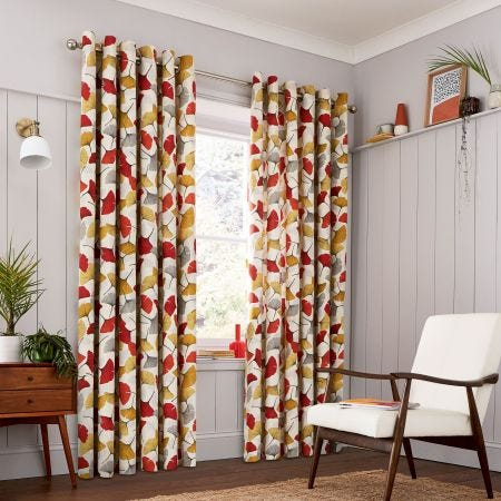Gingko Spice Lined Curtains.
