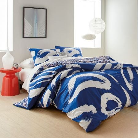 Abstract Floral Blue Bedding