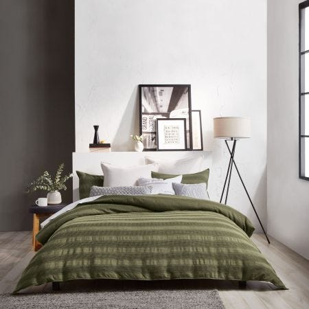 Avenue Stripe Olive Bedding