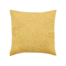 Circle Logo Ochre Cushion Front.