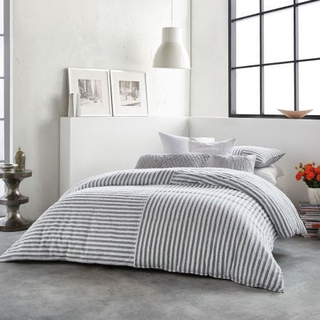 Clipped Square Grey & White Striped Bedding