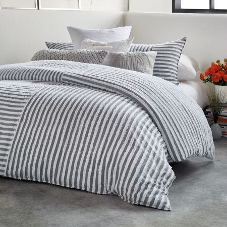 Clipped Square Double Duvet Cover, Grey
