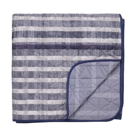 Ombre Stripe Dark Blue Quilted Throw