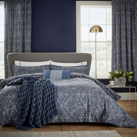 Ellinor Ink Blue Floral Bedding