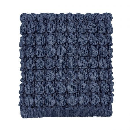Ellinor/Fleur Knitted Throw, Ink Blue