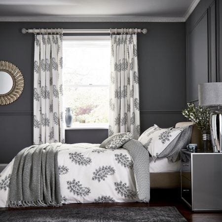 Simone Grey Paisley Pattern Bedding