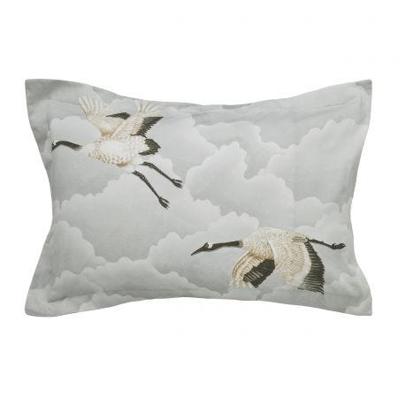 Cranes in Flight Silver Oxford Pillowcase
