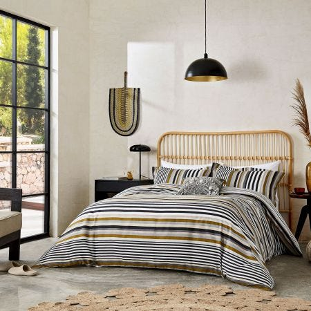 Rosita Grey & Yellow Striped Bedding
