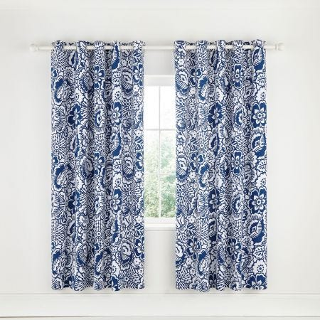 Tilde Blue Lined Curtains.