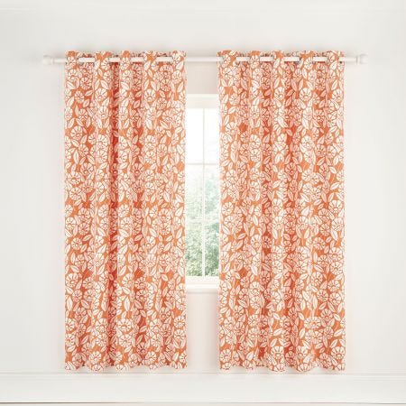 Tivoli Coral Lined Eyelet Curtains.