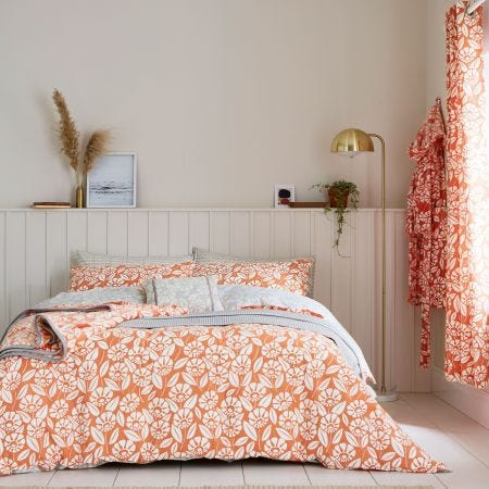 Tivoli Floral Bedding in Coral