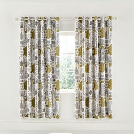 "Unna Lined Curtains 66"" x 72"", Chartreuse"