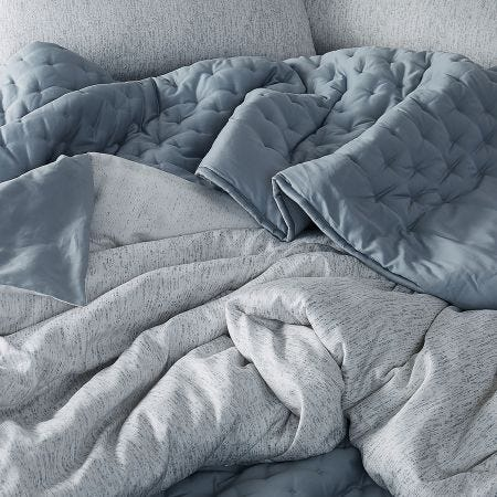 Faded Mesh Double Duvet Cover, Mineral Grey